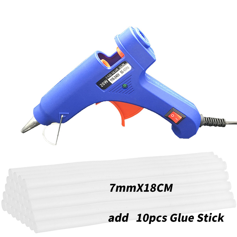 20W Hot Melt Glue Gun With 10 Pcs 7mm 180mm Glue Stick