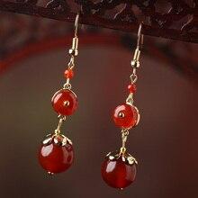Red Agate Earrings Eardrop Women Vintage Ethnic style Ear Clip Dangle Bride Jewelry Hanging Accessories
