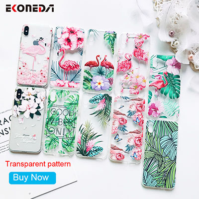 EKONEDA-Silicone-Case-For-iPhone-7-Case-Patterned-Flower-Leaves-Flamingo-Transparent-For-iPhone-XS-Max-2400