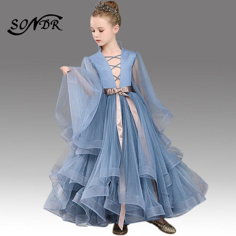 Dark Grey Primera Comunion Decoracion HT098 High Collar Long Sleeve Flower Girl Dress Ruffles Floor-Length Pincess Ball Gowns