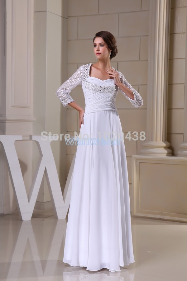 Free Shipping Vestidos 2015 New Design Sweetheart Custom Sexy Backless White Lace Beading Sleeves Evening Dress Formal Gowns