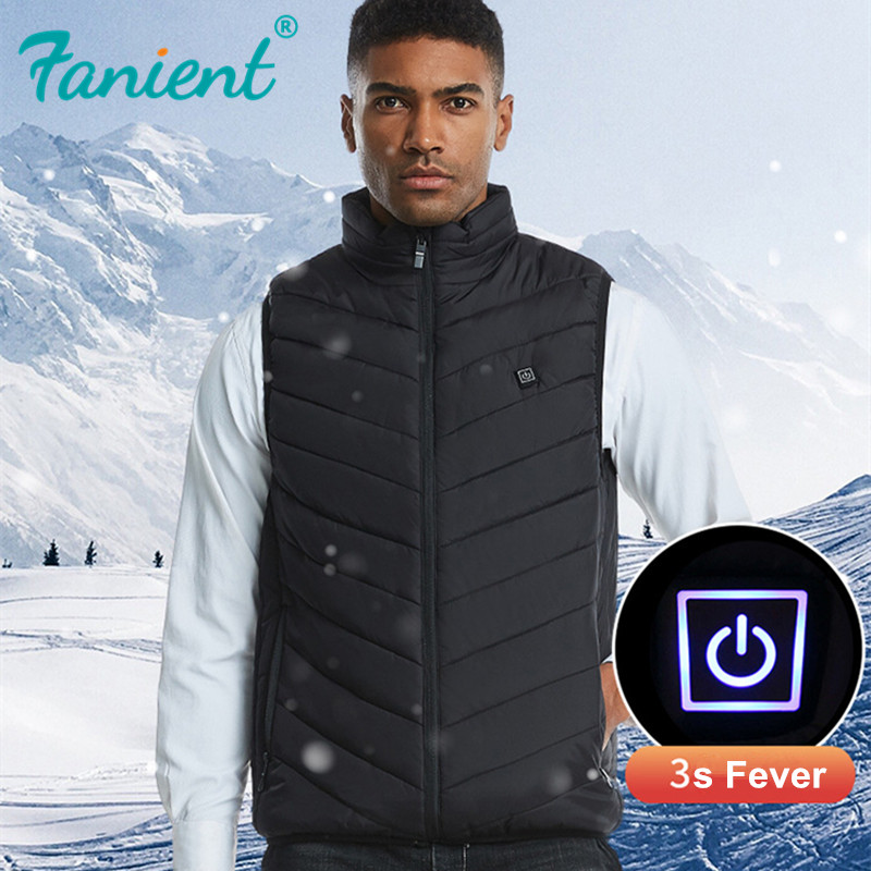 USB Heated Vest Men Women Coat Feather Thermal Heated Jacket Winter Fishing Vest Usb Vest Outdoor Heated Vest Big Plus Size 4XL