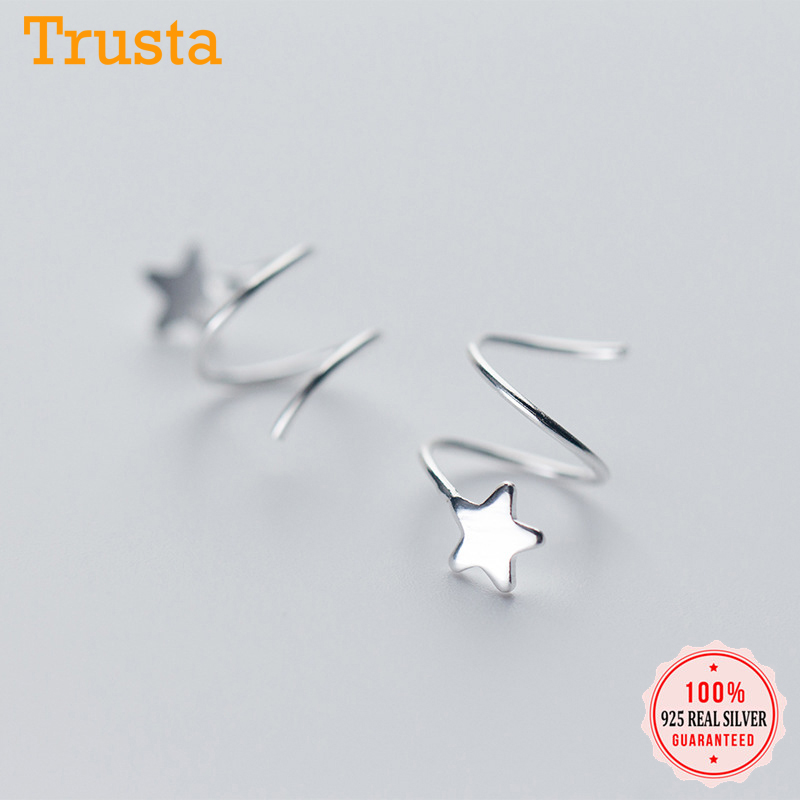 Trustdavis 100% 925 Sterling Silver Women's Small Star Ear Bones Ear Buckle Ring Tightly Packed Mini Double Ring Earrings DS434