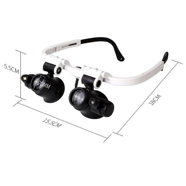 LED Illumination Headband Glasses-type Magnifier 8X 15X 23X Binocular Loupe Carving Micro-carved Repair Lamp Magnifying Glass