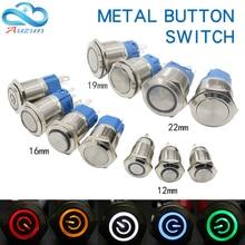 12/16/19/22MM Waterproof Metal Push Button Switch LED Light Self-Locking/Self-Reseting Car Engine Power Switch12V 24V 110V 220V