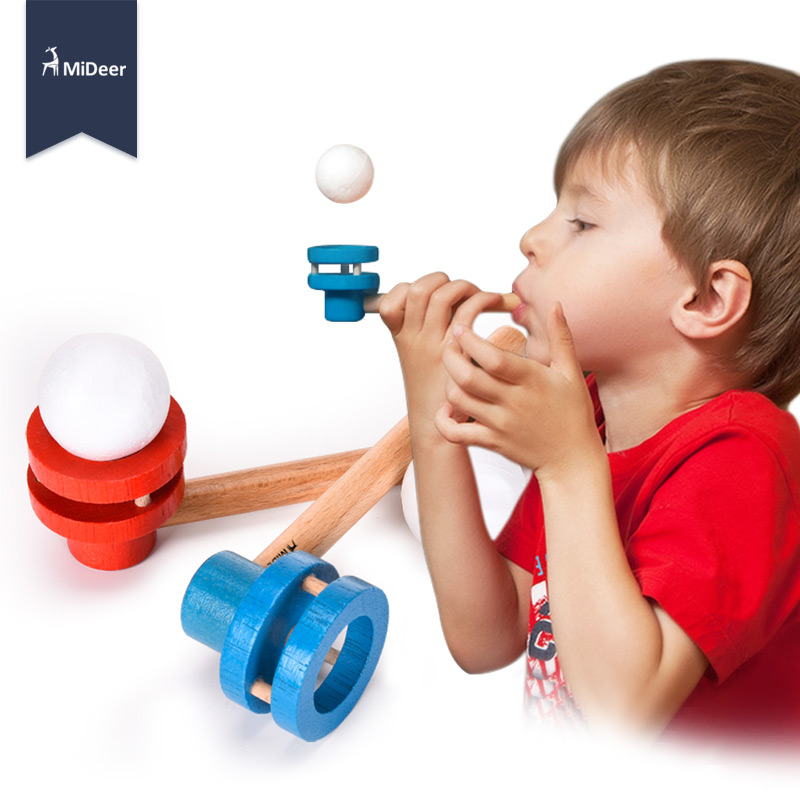 Kids Wooden Toys Blocks STEM Game Blowing Pipe MiDeer Floating Ball Classic Fun Popular Learn Educational Toys for Children Gift(China)