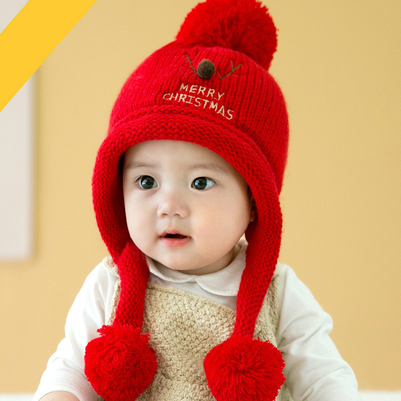 Cute Toddler Kids Girl Boy Baby  Thicken Hat Scarf Infant Winter Warm Crochet Knit Beanie Cap Yellow Pink White Red