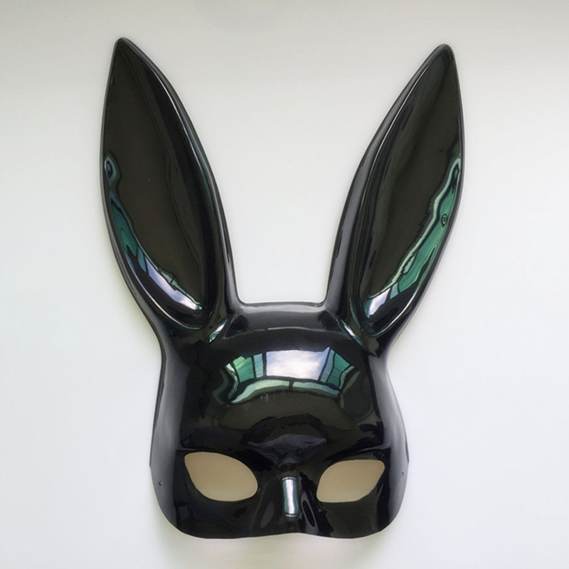 Image 2 - Mark Black Women Girl Sexy Rabbit Ears Mask Cute Bunny Long Ears Bondage Mask Halloween Masquerade Party Cosplay Costume Props-in Party Masks from Home & Garden