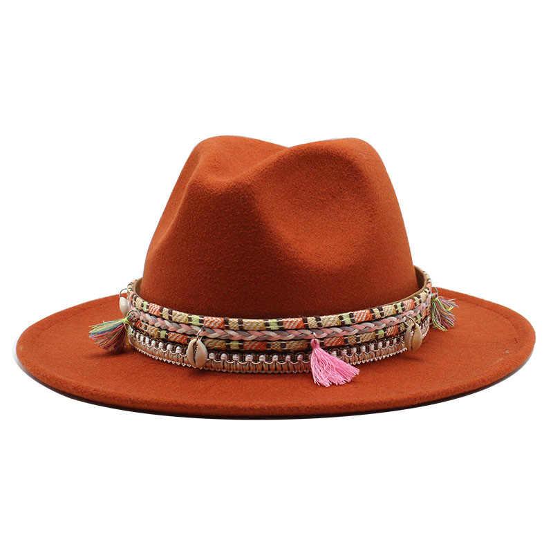 موضة خريف 2020 الشتاء قبعة بحافة واسعة قبعة النساء الرجال مع حزام بنما الجاز قبعة تريلبي ورأى خمر القبعات فاتو feutre أوم