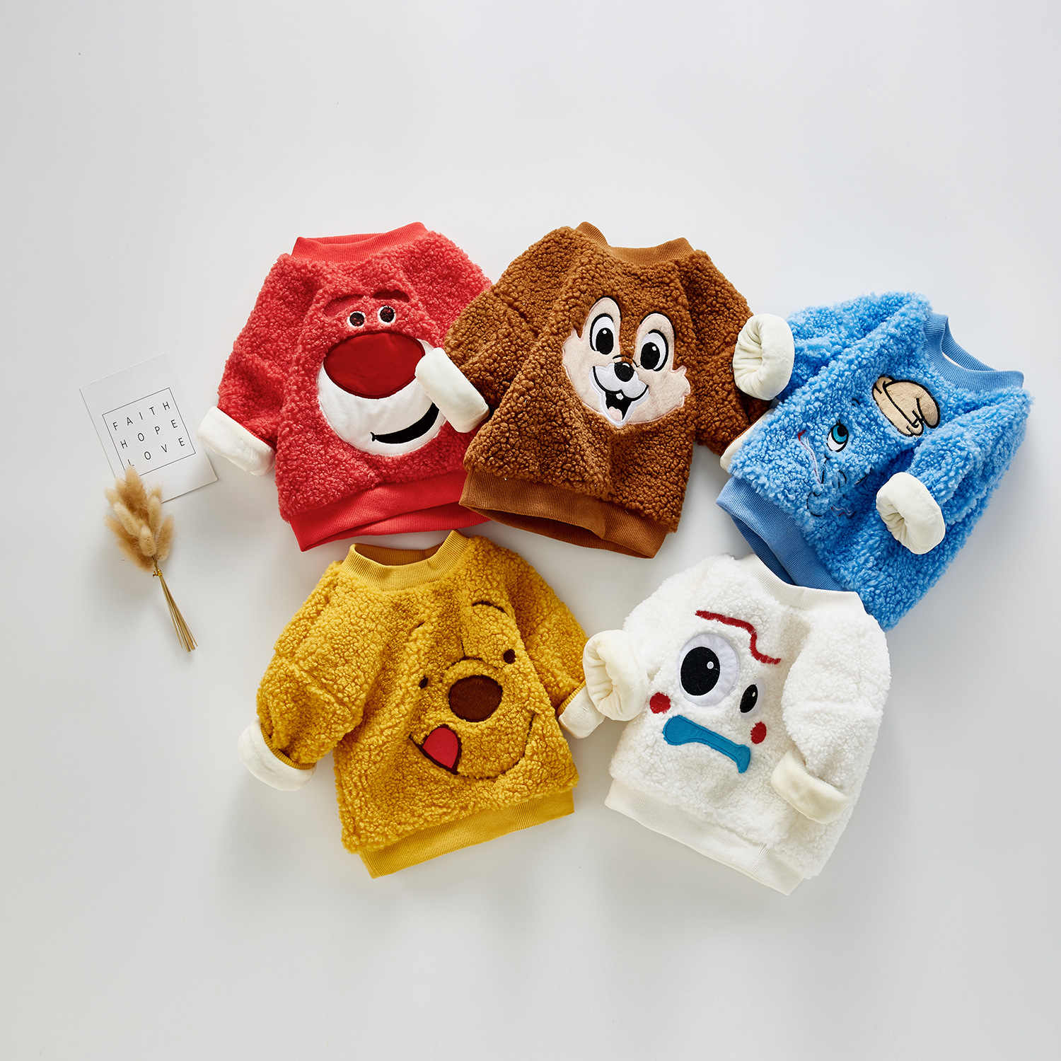 3070 Baby Cute Plush Sweater For Boys And Girls Cartoon Animals Coral Fleece Pullovers Sweatershirts Boys Tops Warm Clothes