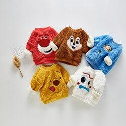 3070 милый плюшевый свитер для маленьких мальчиков и девочек; пуловеры из кораллового флиса с рисунками животных; свитера; топы для мальчиков;...
