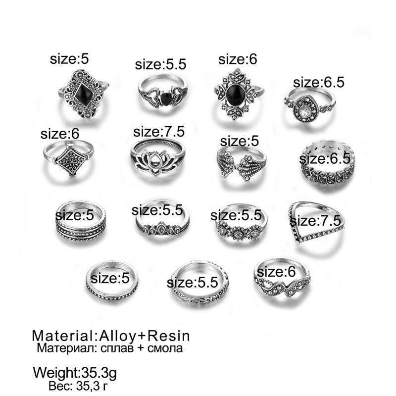 Женский винтажный набор колец с опалом и кристаллами средней длины, 9 дизайнерских золотых звездочек, 2019 6