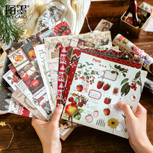 8Sheets Christmas Night Forest Series Sticker Paper Scrapbooking Retro DIY Journal Decorative Adhesive Flake Stationery Supplies