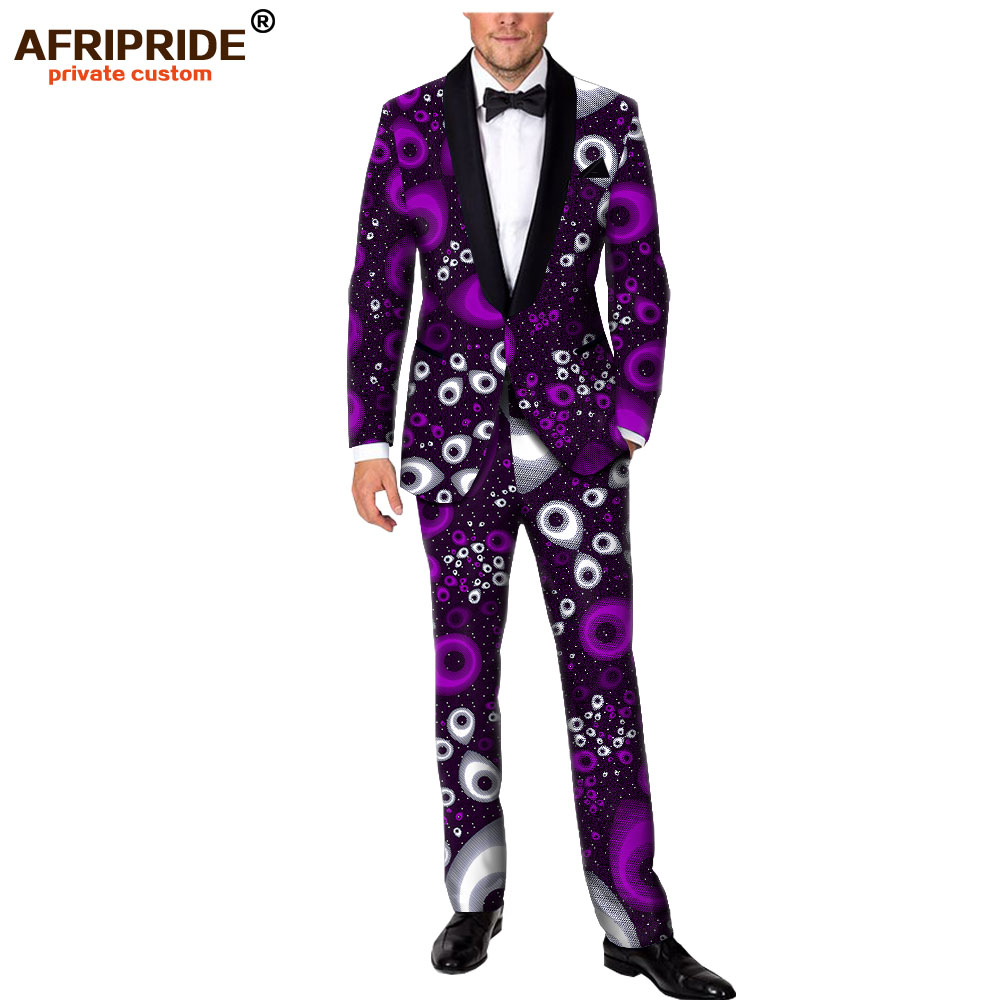 2019 Men`s Suit Slim Fit Ankara Print Jacket And Pants Set Party Wedding Dashiki Men African Clothing Set AFRIPRIDE A1916059