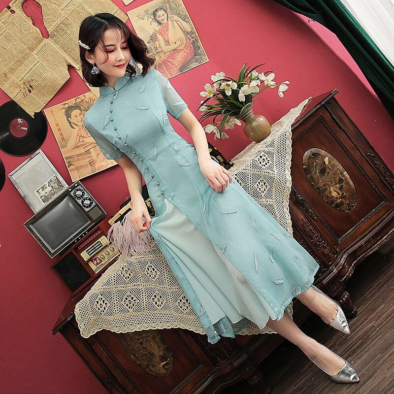 Short Sleeve Vietnam Ao Dai Asian Chiffon Dress For Women