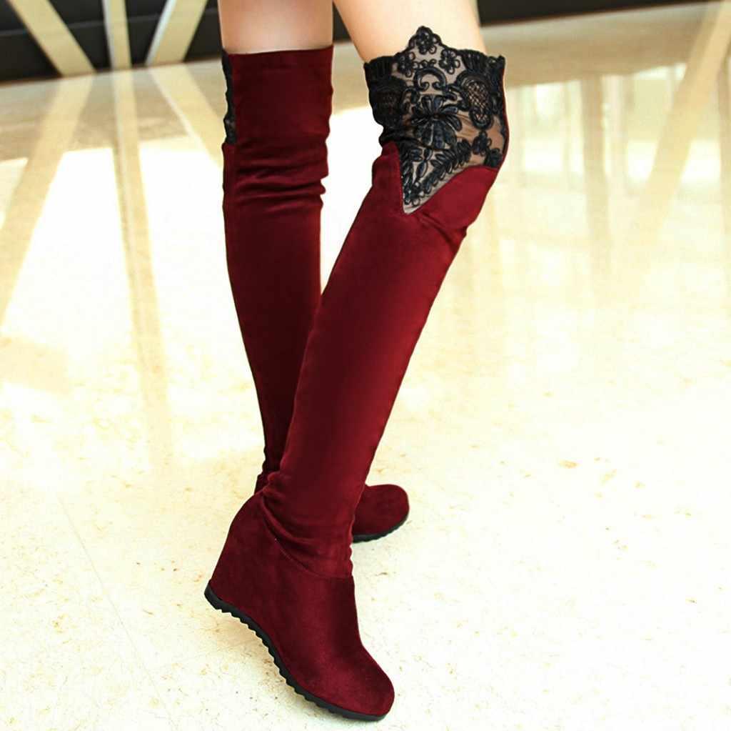SAGACE kadın dantel diz yüksek çizmeler takozlar bayan ayakkabıları rahat over-the-diz patik seksi moda süet deri bayan botları