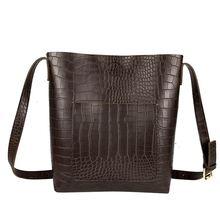 Retro Alligator Bucket Bags Women Crocodile Pattern Handbag Capacity Casual Shoulder Messenger and Ladies Purse