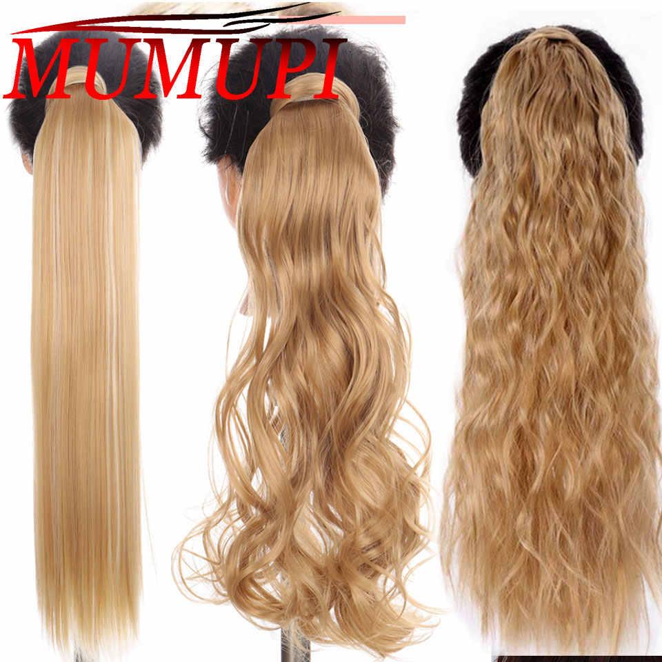 Grampo em extensões de cabelo rabo de cavalo natural cauda overhead para mulher longa reta sintético falso cabelo mumupi