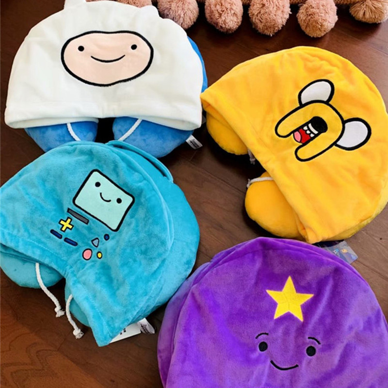 Adventure Time U-shaped Pillow Neck Pillow Travel Car Use Soft Pillow Cervical Nap Pillow With Hat Comfortable High Quality Gift