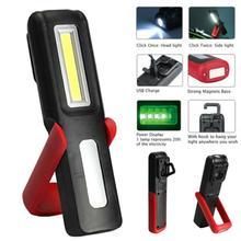Magnetic Portable USB Rechargeable LED COB Flashlight Work Light Torch Light