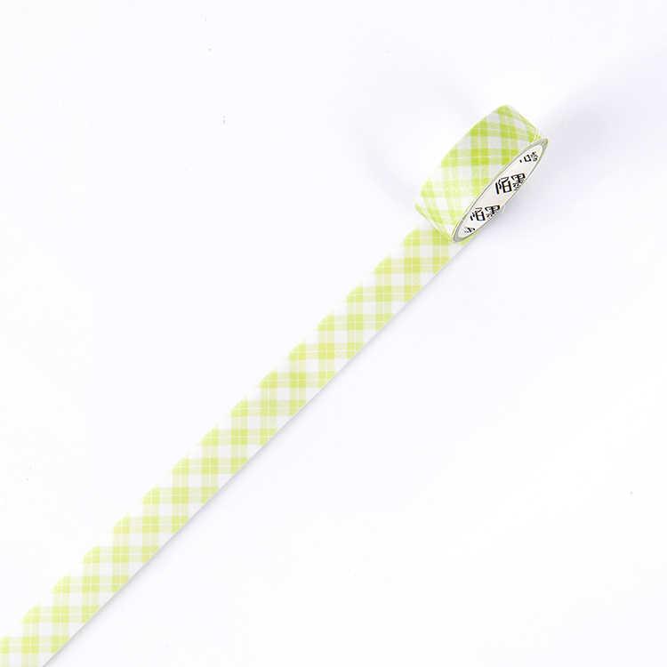 15mm kağıt bant Vintage izgara günlüğü Washi bant yapışkan bant Diy Scrapbooking yapışkan etiket maskeleme bantları