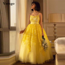 Verngo Bright Yellow Tulle Ball Gown Prom Dresses Lace Floral Spaghetti Straps Homecoming Dress Ankle Length Party Formal Gown