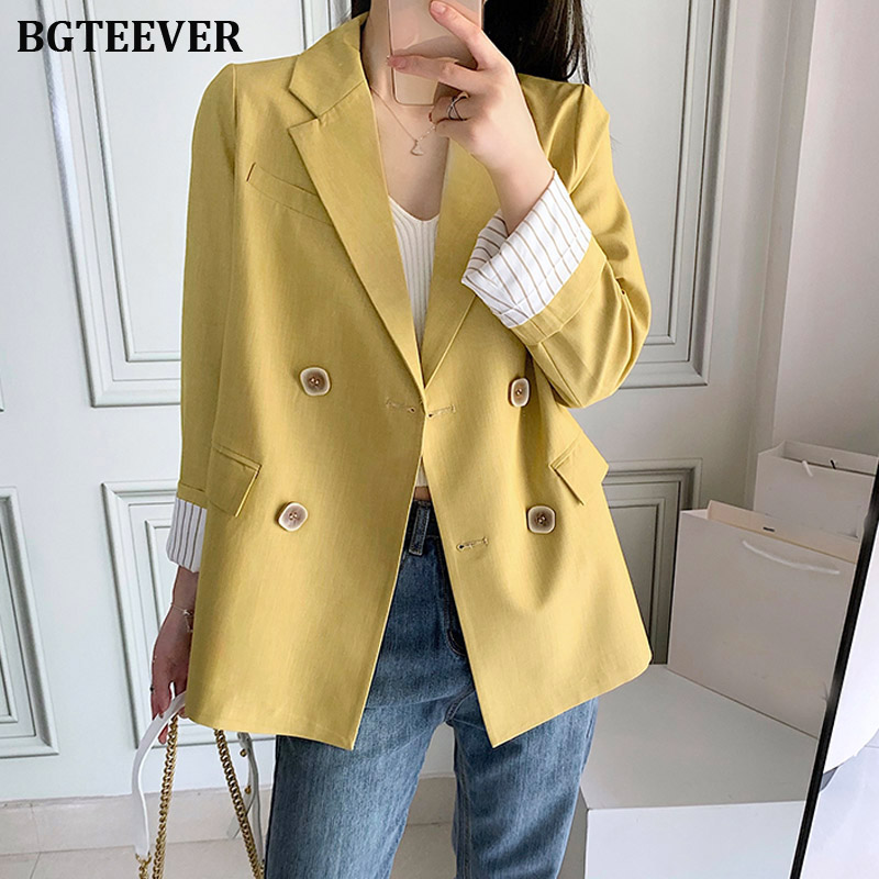 Yellow Women Blazer Pockets Double-breasted Full Sleeve Female Suit Coats Casual Loose Blazer Outerwear Chic Tops Blaser 2019