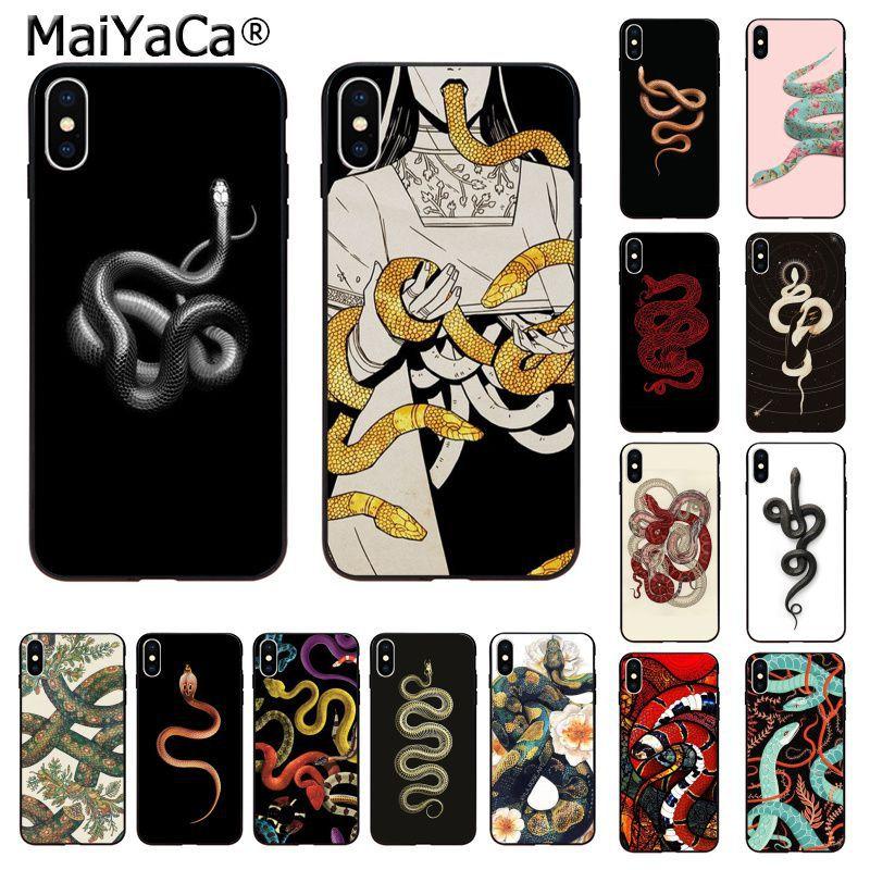 Maiyaca Hand Animal Snake Flower Pattern Phone Case For Apple