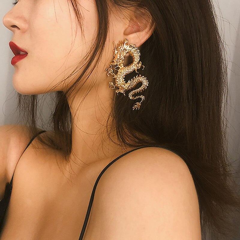 Chinese Style Matt Gold Dargon Stud Earrings For Women 2020 Vintage Queen Cool Statement Earrings Femme Punk Earings Brincos