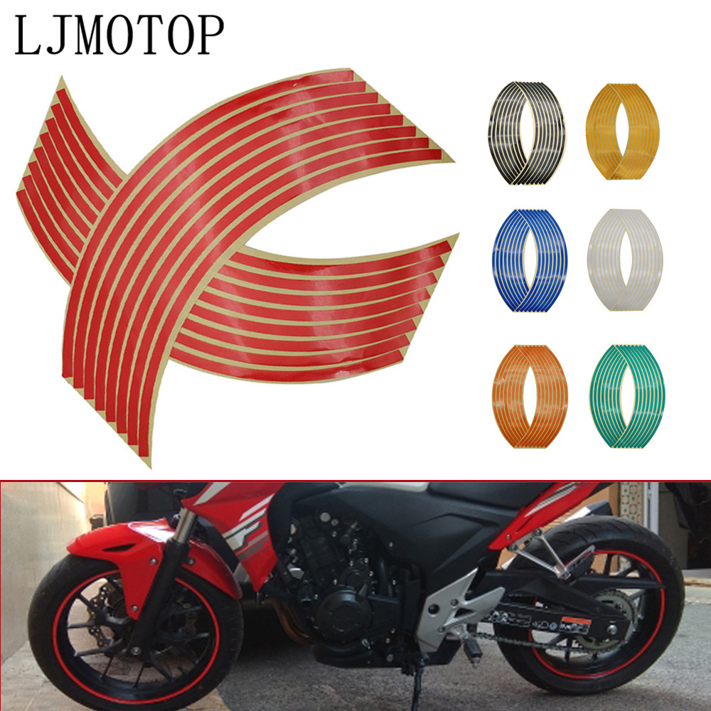 Motorcycle <font><b>Wheel</b></font> <font><b>Sticker</b></font> Motocross Reflective Decals Rim Tape Strip For <font><b>Yamaha</b></font> R25 <font><b>R6</b></font> 600R FZ600 TRX850 FZR400 XJ6 DIVERSION image
