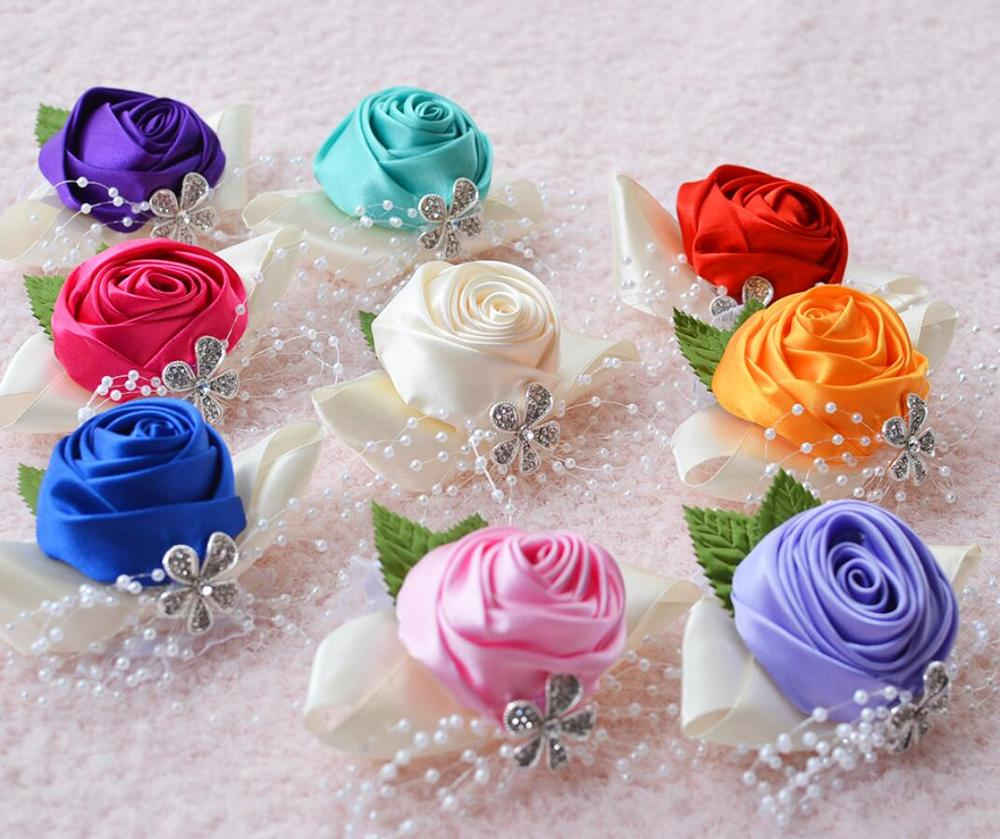 Wrist Corsage Wedding Bracelet Bridesmaid Wine Silk Corsage Bridesmaid Sisters Hand Flowers Boutonniere Corsage Pin