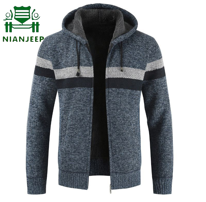 Autumn Winter Sweatercoat Men Thick Warm Hooded Cardigan Sweater 2019 Men Striped Cashmere Wool Liner Zipper Fleece Coats Male
