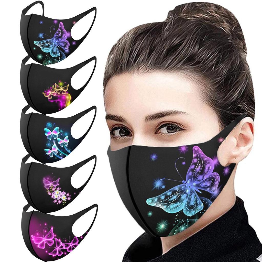 Уход за кожей лица маска для лица для взрослых Модные бабочки печати подлежит стирке и многоразовому использованию маска против пыли ветро...