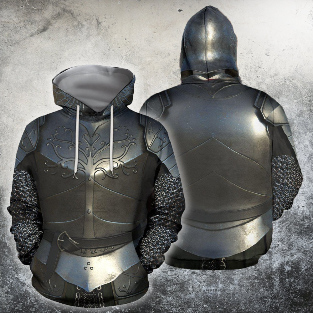 UJIW 3D All Over Printed Knights Armor Templar Tops Flag Streetwear Hoodie Long Sleeve Pullover Custom Hoodie Drop Shipping