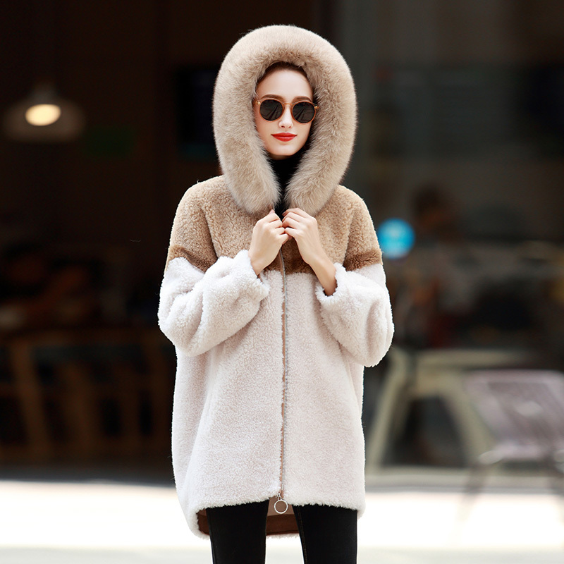 Shearling Sheep Real Fur Coat Female Fox Fur Collar Real Woo Coats Winter Jacket Women Suede Lining Korean Outwear MY S