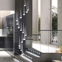 Modern minimalist drop staircase chandelier LED spiral Conic lamp shades chandelier Stairwell salon Hotel large pedant lamp