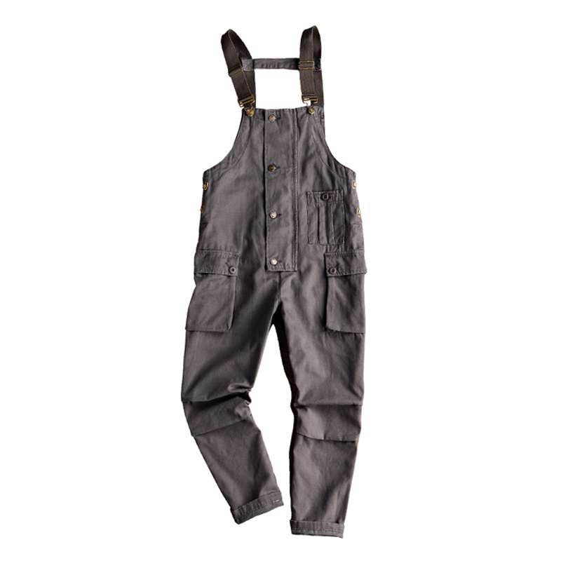 Sokotoo Men's Pockets Buttons Loose Bib Overalls Hip Hop Suspenders Jumpsuits Coveralls