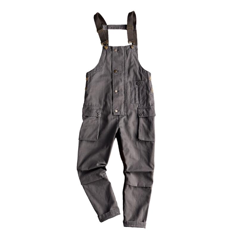 Sokotoo Men's pockets buttons loose bib overalls Hip hop suspenders jumpsuits Coveralls