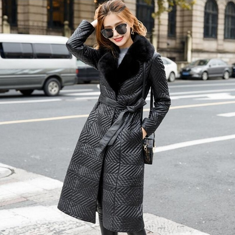 Fashion Luxury Mink Fur Collar Long Coat 100% Sheepskin Slim Fit Belt Genuine Leather Jacket Office Ladies Black Clothes Female