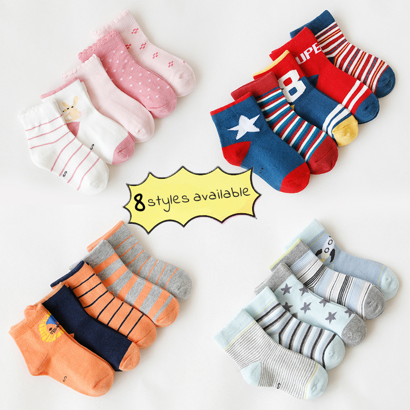 5 Pair/lot Girls Boys Socks Cotton Breathable Striped Dots Soft Baby Kids Children Socks For 1-12Y Autumn Winter