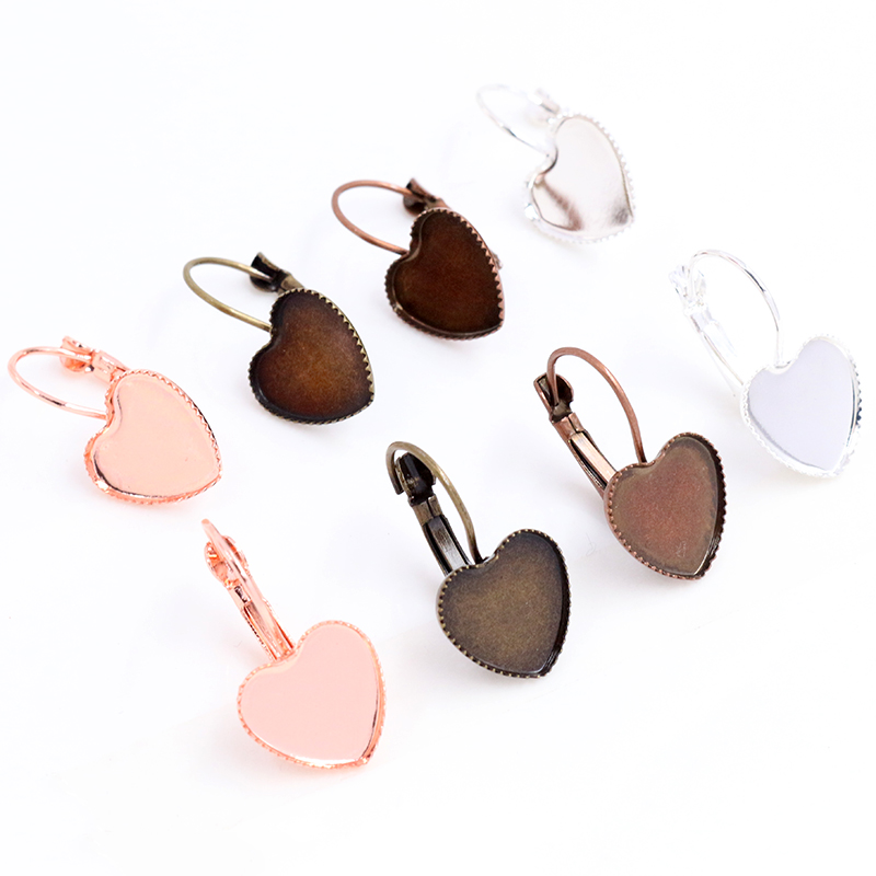 12mm 10pcs Silver Rose Gold Bronze Plated Heart French Lever Back Earrings Blank/Base,Fit 12mm Heart Cabochons,Buttons