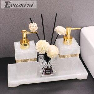 Image 1 - Luxury Nordic Rhinestone Resin Bathroom Accessories Set Tray Emulsion Bottle Hand Sanitizer Soap Dispenser  Toothbrush Holder