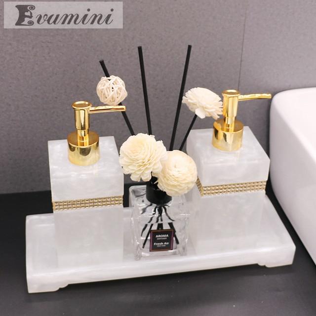 Luxury Nordic Rhinestone Resin Bathroom Accessories Set Tray Emulsion Bottle Hand Sanitizer Soap Dispenser  Toothbrush Holder