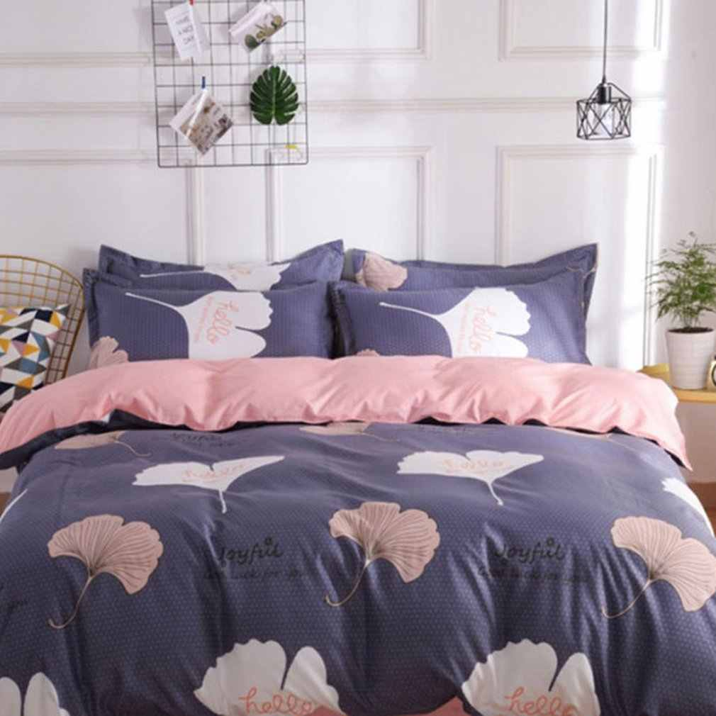 4pcs Bedding Set Fashion Clover Leaf Printed Super Soft Washable Duvet Cover Bed Sheets Pillowcase Bed Supplies