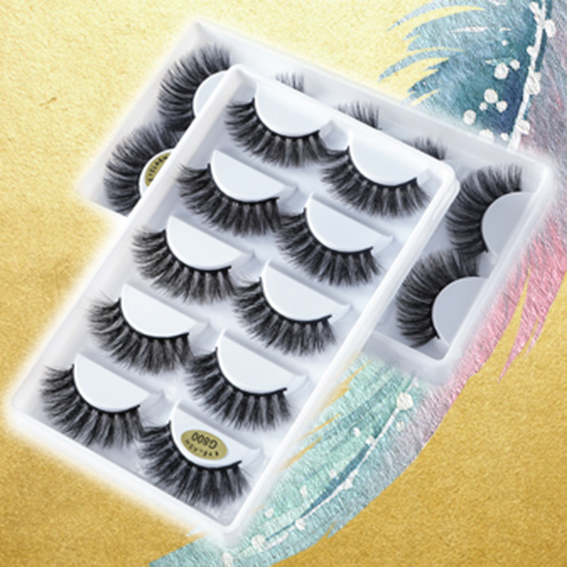 5 Pairs/Box 3d Mink Lashes 100% Thick Real Mink False Eyelashes Natural For Beauty Makeup Extension Fake Eyelashes False Lashes