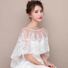 Women Ivory Wedding Cape Applique Lace Tulle Elegant Vintage Bridal Cape Formal Dress Beach Shawl High Low Evening Prom Wrap