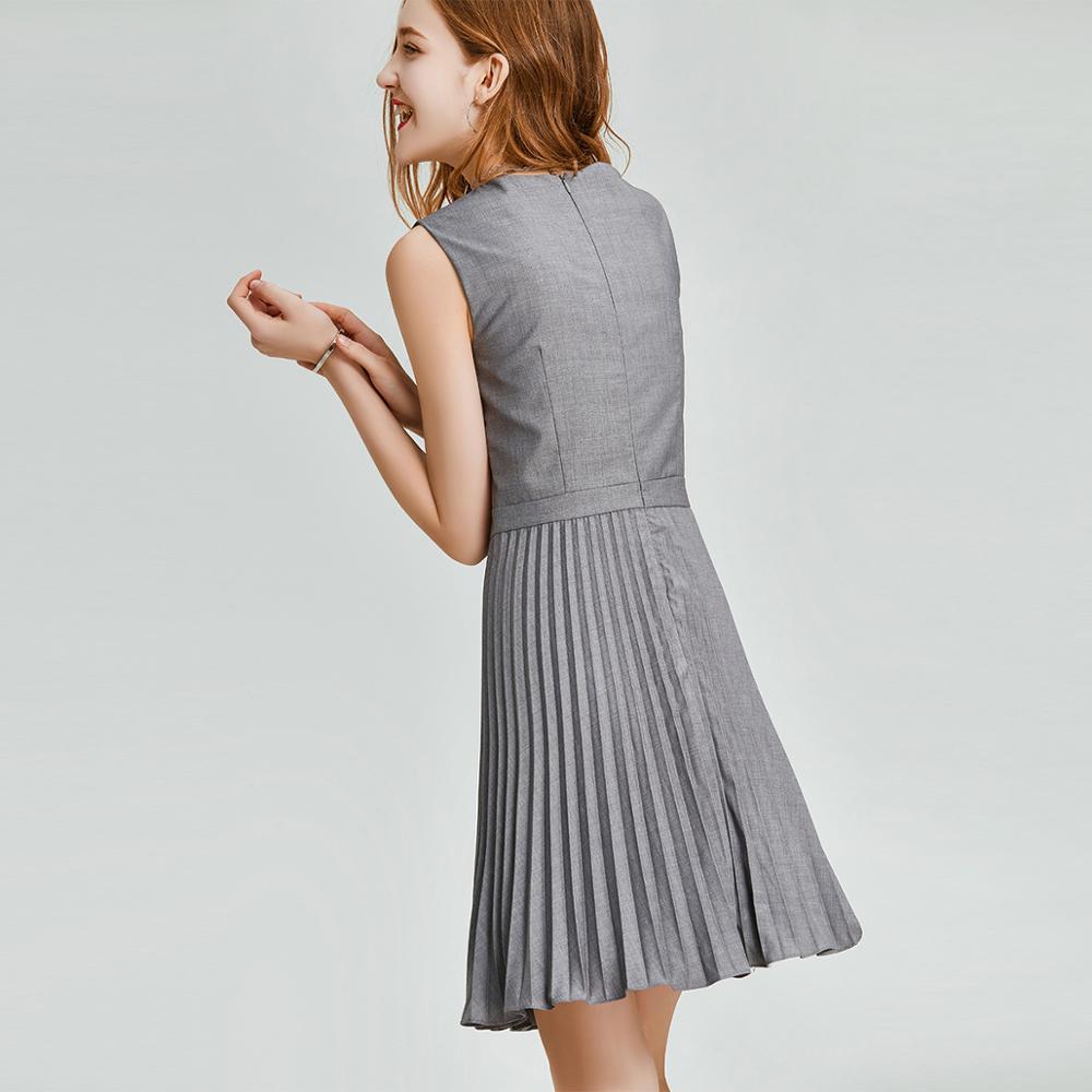 HAVVA Early Spring Women Pure Gray Sleeveless Dress Cool Style Slim Organ Pleated A line Summer Dress Q3338 - 2