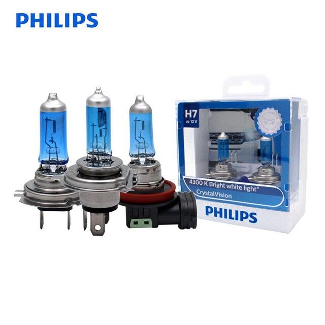 필립스 H1 H4 H7 H11 9005 9006 12V 크리스탈 비전 4300K 밝은 흰색 빛 할로겐 자동차 헤드 라이트 안개 램프 + 2x T10 전구, 쌍