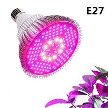 Светодиодный Фито лампа полного спектра 10 Вт 30 Вт 50 Вт 80 Вт 100 Вт E27 растут огни лампы для семена цветов растений Сад овощи теплица