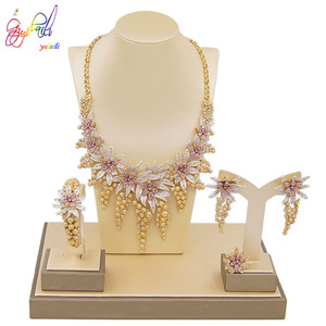 Image 5 - Yulaili New Hot African Female Costume Jewellery Gold Color Necklace Earrings Nigeria Wedding Jewelry Sets for Women Wholesale